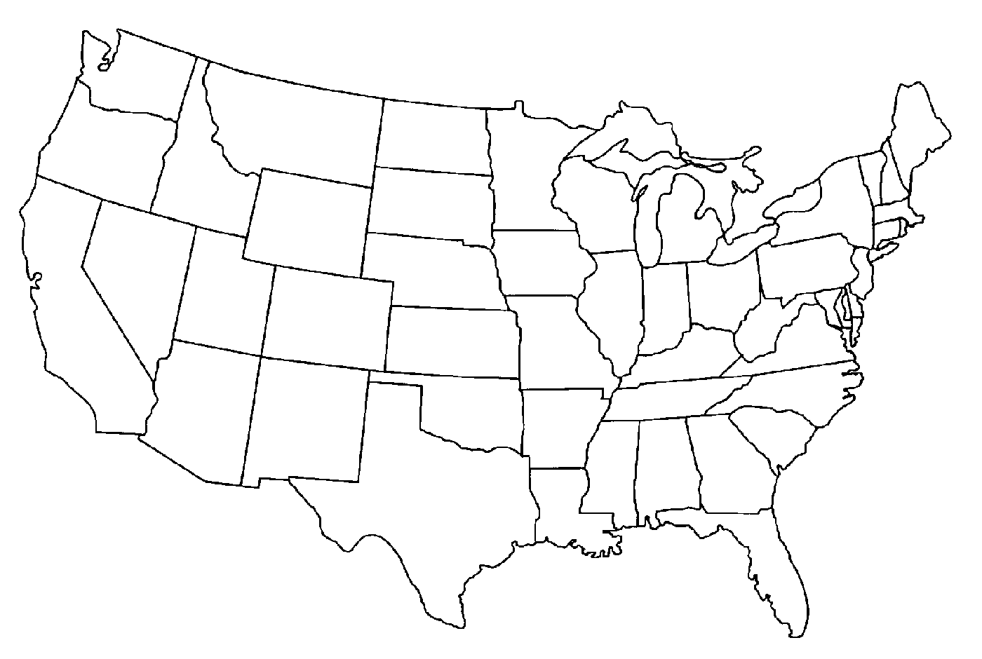 Blank United States Map Quiz Unit  Mr Reid Geography For Life A - Us outline map free