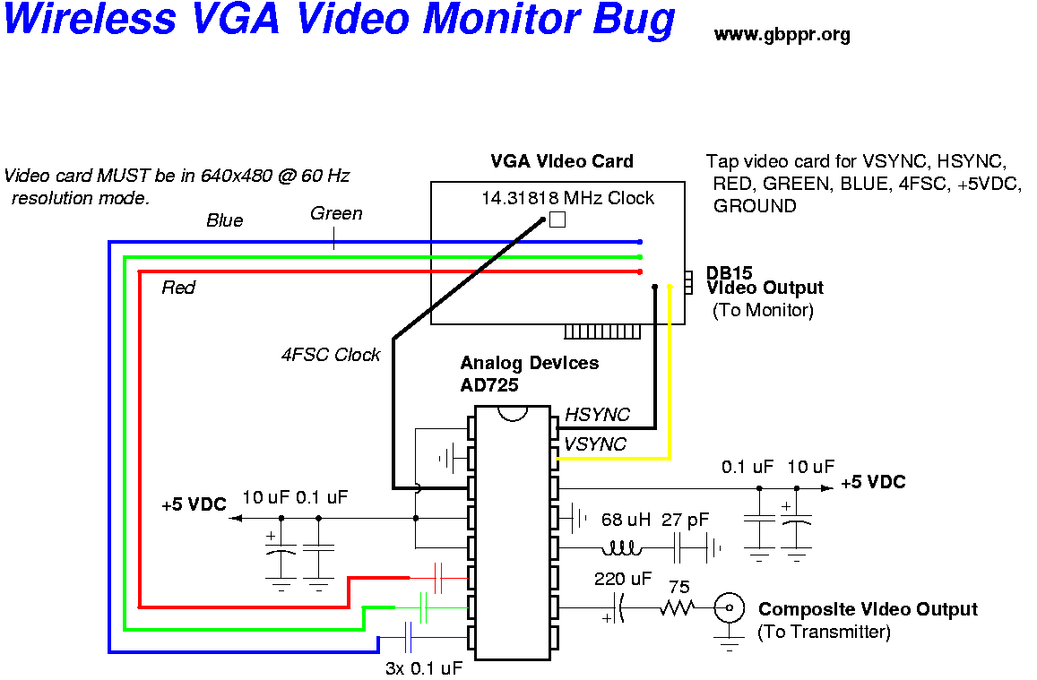 vga video monitor transmitter tv to vga schematic wiring schematic for usb to vga adapter