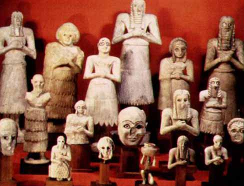 votive statues from tell asmar Buried beneath the pavement beside the altar was a cache of 21 votive statues in  gypsum, remarkably well preserved, the largest 30 inches tall these probably.