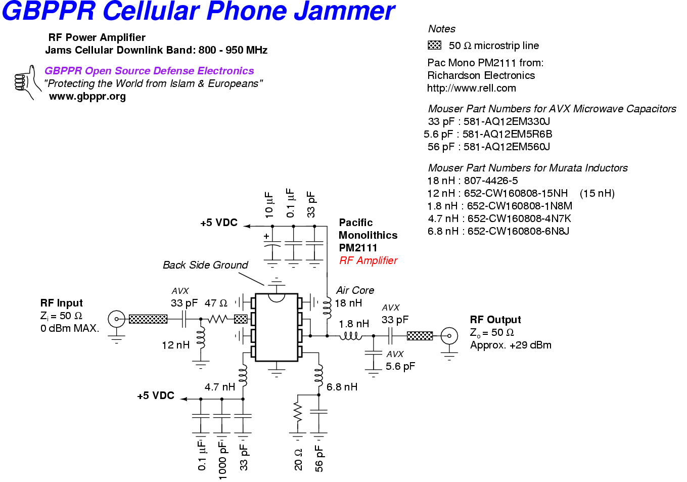 Gbppr Cellular Phone Jammers Fm Circuit Page 2 Rf Circuits Nextgr Jammer Amplifier 1 Watt 800 950 Mhz 111k
